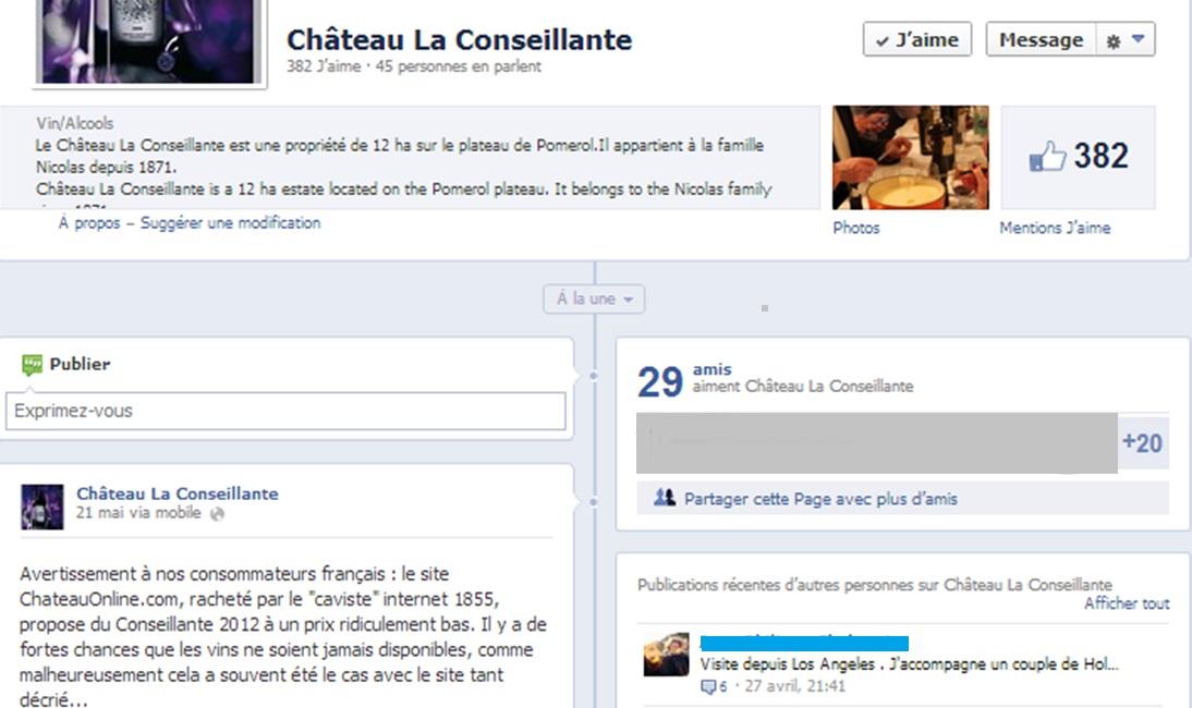 Château La Conseillante : Page Facebook