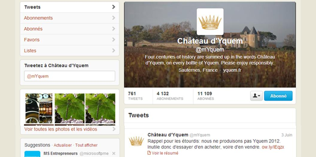 Château Yquem tweete pour rappeler qu'il n'y aura pas de Yquem 2012, suite à la mise en vente de vins imaginaires sur 1855