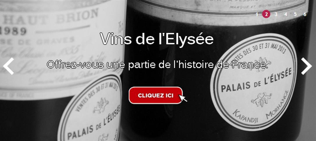 Le Comptoir des Millésimes met en vente des vins de la cave de l'Elysée