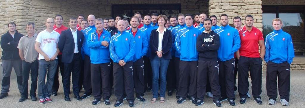 Les joueurs de l'Equipe de France de rugby à XIII à Chateauneuf du Pape