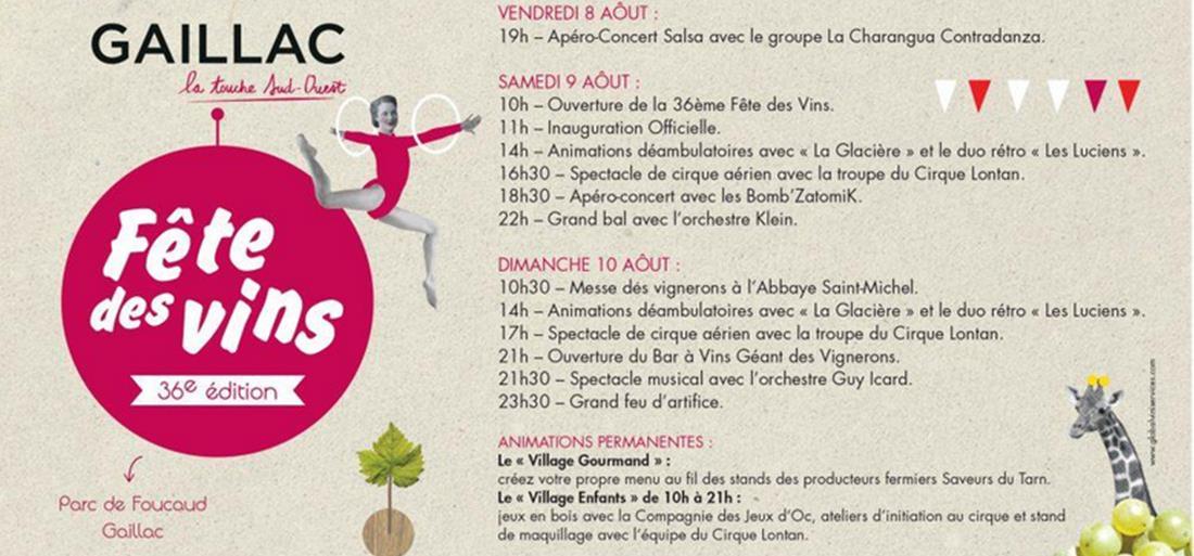 Le programme de la Fête des Vins de Gaillac